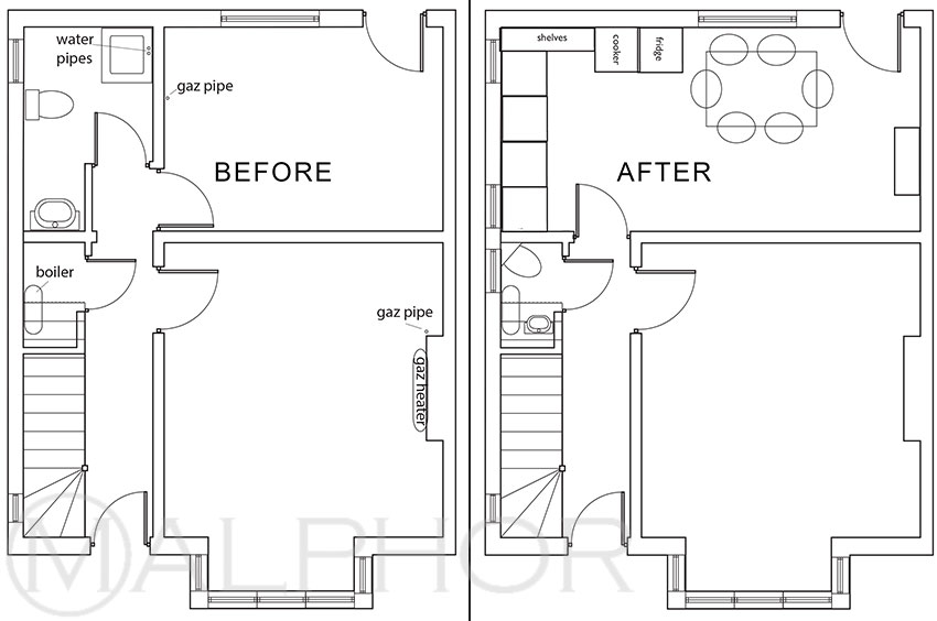 FLOOR PLAN BEFORE AFTER