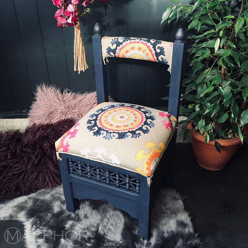 Moroccan stool in blue chalk paint