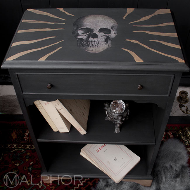 Chalk Paint and skull decoupage small bookcase