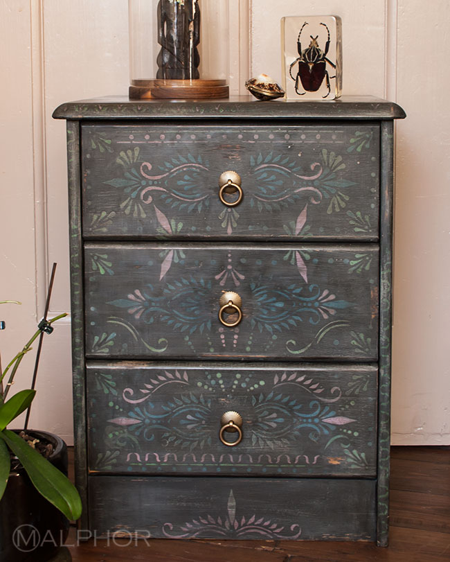 Glam exotic romantic bedside cabinet