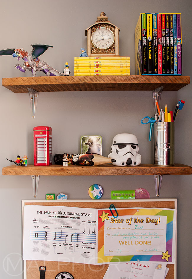 Boy's room shelves